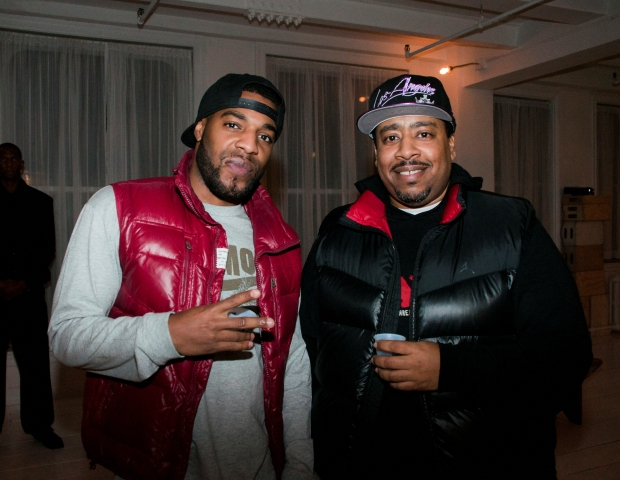 Elev8tor Music's Dolo The Bandit and Supa Mario stop and smile for the camera.