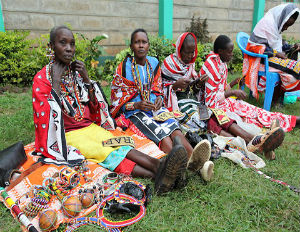 Maasai women work on beading for a Vivienne Westwood collection. (Photo: Chloe Mukai/ITC Ethical Fashion Initiative)