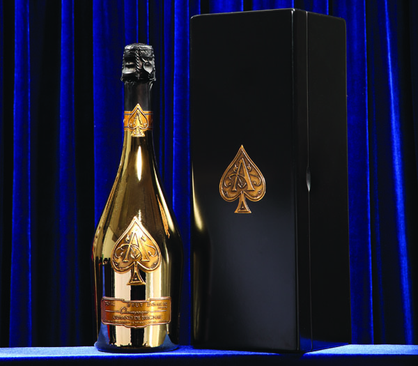 CHAMPAGNE   Armand de Brignac  All of the grapes from the varieties of Chardonnay, Pinot Noir, and Pinot Meunier are picked from the historic region of La Marne and are from villages rated grand cru and premier cru, which allow distinct character. It is, indeed, a reason for celebration.
