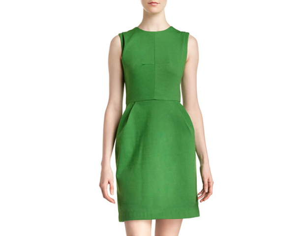 Pleated A-Line Dress: This dress will make your fashion foes green with envy. The color fits into now while the classic cut will fit in your wardrobe for years to come. Last Call Neiman Marcus, $59.40