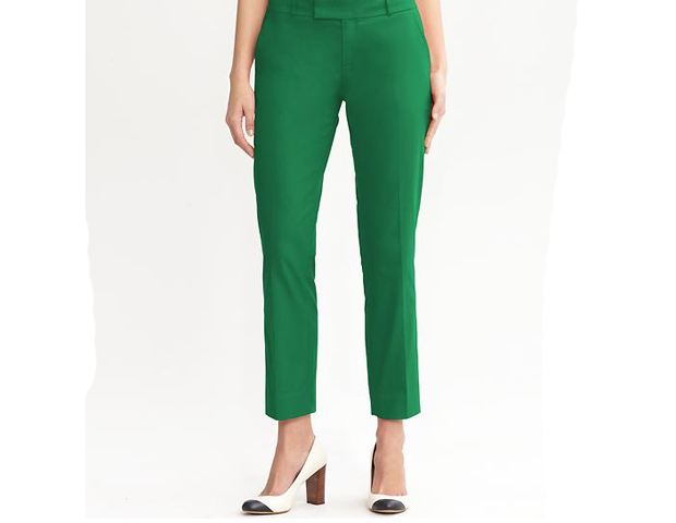 Cropped Pants: I love the versatility of these cropped pants. The energizing color makes them great for work and play. They make a lively addition to any closet. Banana Republic, $89.50