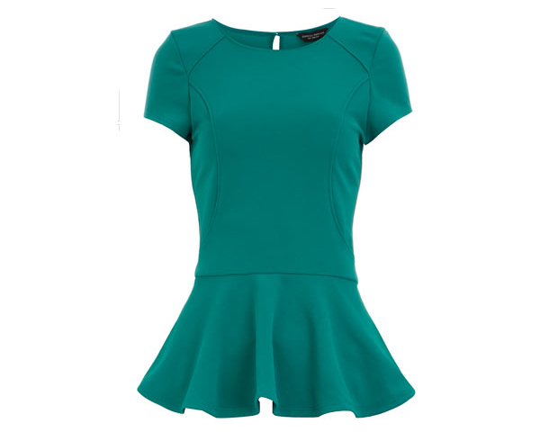 Peplum: Jewel tones are universally flattering. This vivid emerald green peplum will add a colorful appeal to your new year of style. Dorothy Perkins, $14