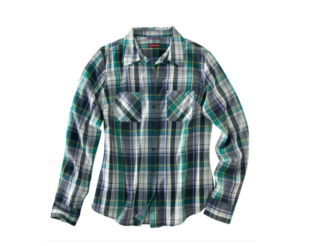 Green Plaid Shirt: You dont have to be literal with the color. Try the color in a variety of shades and prints like this tartan print that combines of pattern of the moment with the color of the year. Target, $19.99