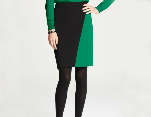 Color-Block Skirt: Don't know what to wear with the color of clarity? This two-tone, black and emerald skirt take the guesswork out of the equation, making it clear what you should pair with green. Ann Taylor, $39.99