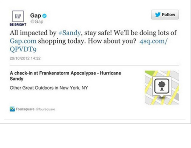 American Apparel wasn't the only brand to make an insensitive tweet during Hurricane Sandy. On Monday, when the storm was just making landfall in New York, the brand tweeted: 