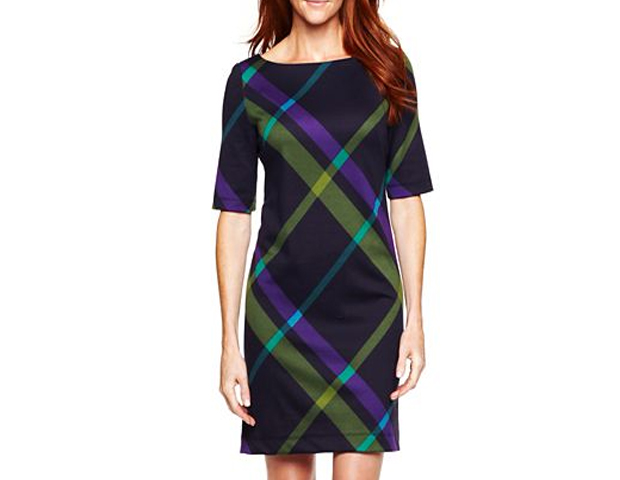 Colorful Plaid Shift Dress: This print ponte shift dress is a playful and sophisticated option for your winter wardrobe. JC Penney, $35
