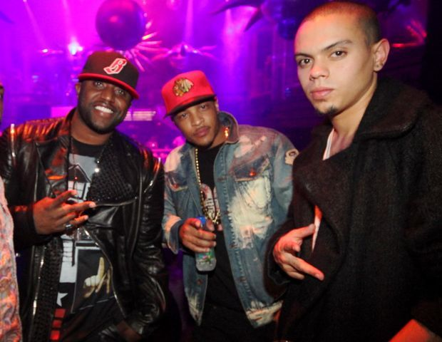 Producer Rico Love shows love to T.I. and Evan Ross at the Miami hotspot, LIV