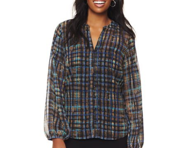 Plaid Tunic: The checkered print gets a fun and graphic remix with this tunic that you can dress down with jeans or dress up with a skirt and heels. JC Penney, $20