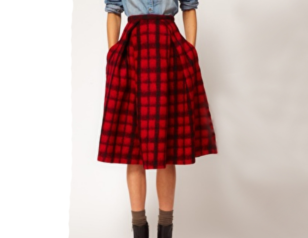 Midi Skirt: This skirt comes in both the traditional red plaid and a muted black and white combo that will invigorate your love of skirts. Asos, $61.57
