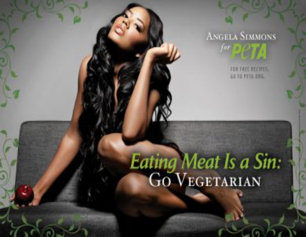 Angela Simmons has grown up right before our eyes via reality television and the approximately 8,945,957 paparazzi pictures of her frolicking on the beach. The Pastry co-owner took time out of her schedule to take a very sexy pic for PETA. Okay, preacher's kid!