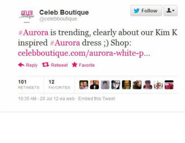 """After a gunman killed at least 12 people and injured dozens more in a movie theater in Aurora, Colo., the word """"Aurora"""" began trending on Twitter. Not long after, online retailer Celeb Boutique wondered, in a tweet, whether that trend was due to a Kim Kardashian-inspired dress it sells, dubbed the Aurora.  Twitter users bashed the retailer for being oblivious; many others accused the company of using a tragedy to promote its apparel.  In an attempt to apologize, the brand tweeted: """"We didn't check what the trend was; hence the confusion, again we do apologise."""" The retailer explained later that its public relations team is not based in the U.S. and """"had not checked the reason for the trend"""" on Twitter."""