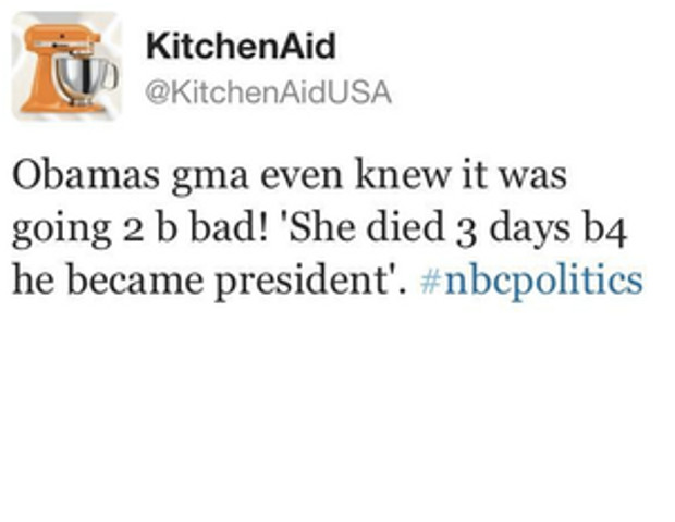 A KitchenAid employee accidently used the company's Twitter handle to send out a disparaging remark about Obama and his grandmother during the last presidental debate, inciting a barrage of retweets and comments from other users.