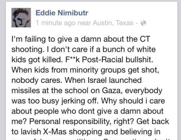Owner and chef of the Austin, Texas-based restaurant Thai Noodle House, Eddie Nimibutr, posted the following comment regarding the victims of the shooting at Sandy Hook Elementary School on Dec 14: 