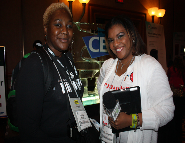 PJ Douglas Sands (right) and her partner Africa Allah (left) are tag teaming at the show this year to make sure they catch a front row seat to all the new product announcements for their web venture DIRadioCast.com. Follow the duo at @iSupportDI .