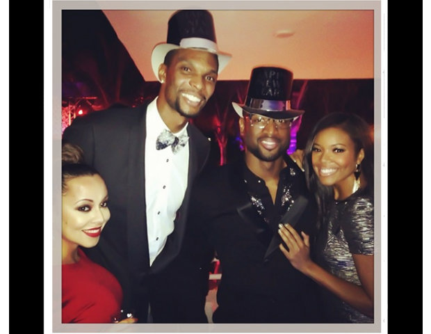 Chris Bosh, Dwayne Wade and Gabriellie Union ring in the New Year