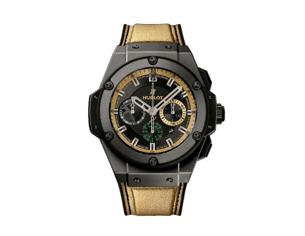 Hublot King Power Usain Bolt Watch  Price £18,000 ($30,000) Approx   If you're after a luxury sports watch (and have particularly deep pockets) then this breath taking limited edition Hublot King Power Usain Bolt watch will certainly tick all of the right boxes from a style and luxury point of view. The Jamaican speedster is certainly one of the greatest sportsmen the world has ever seen and if you want to replicate his laid back, but luxurious style, this Hublot watch is the one for you.   Boasting a bunch of impressive features to justify the lofty price tag, you'll have to go a long way to find a more impressive and unique watch. Just some of the features include a black ceramic bezel, Usain Bolt silhouette at the 9 o'clock position, sapphire crystal glass case and a gold synthetic leather strap made from the same material as the running shoes worn by the great man himself.
