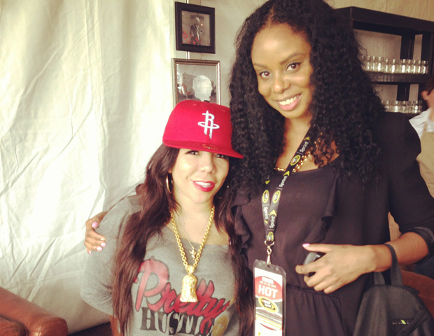 "Janell Hazelwood with ""A Family Hustle"" star Tameka ""Tiny"" Harris."