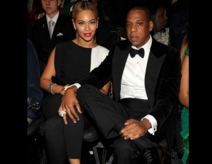 Jay-Z and Beyoncé sitting front row at the Grammy's.