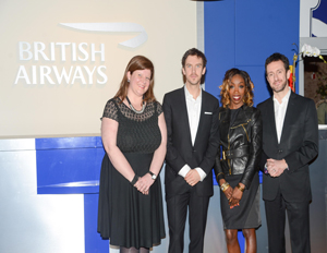 (l-r) Karen Clarkson, vice president of North America for VisitBritain, Downton Abbey actor Dan Stevens, R&B singer Estelle and Simon Talling-Smith, executive vice president of the Americas at British Airways, pose at The Big British Invite opening reception on Thursday, March 21 (Image: Source)