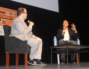 Newark Mayor Cory Booker drops into South by Southwest for one-on-one conversation with Time.com Assistant Managing Editor Steven James Snyder (Image: Mike Street)