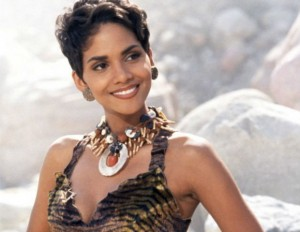 halle berry on the set of the flintstones