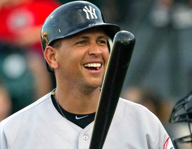 alex rodriguez smiling holding bat