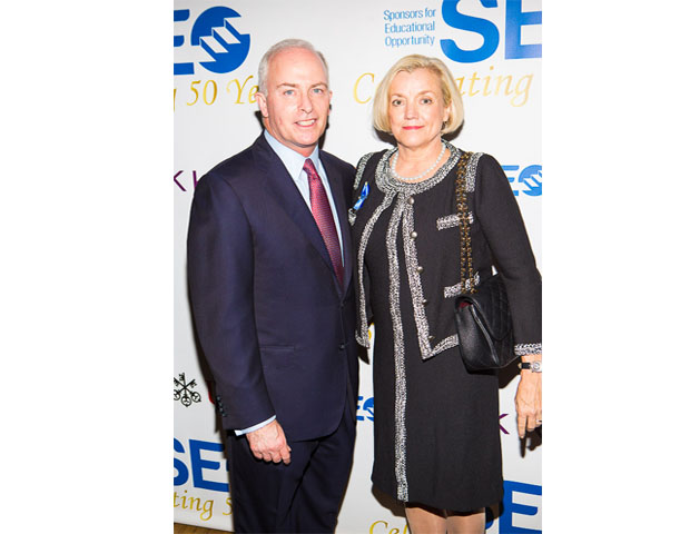 Robert J. McCann, SEO awards dinner chair and CEO of UBS Wealth Management Americas (WMA) and wife, Cindy McCann enjoyed the event.