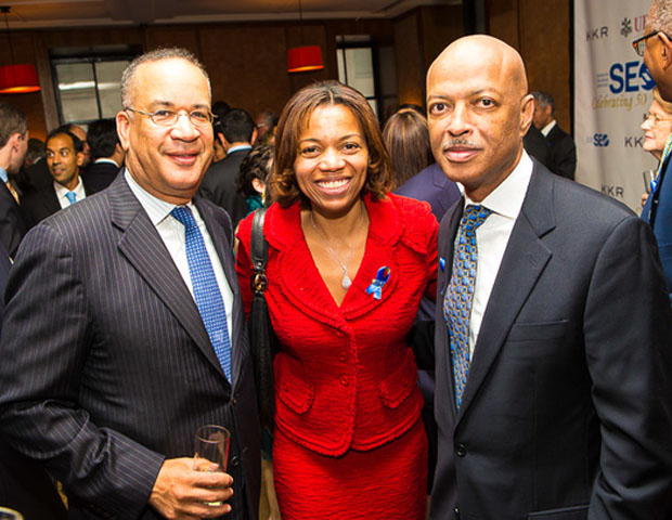 Julian Johnson, SEO's senior vice president, is seen here with Erika Irish Brown, SVP and enterprise diversity recruiting and program management executive at Bank of America, and Lofton Holder, partner at Pine Street Alternative Asset Management.