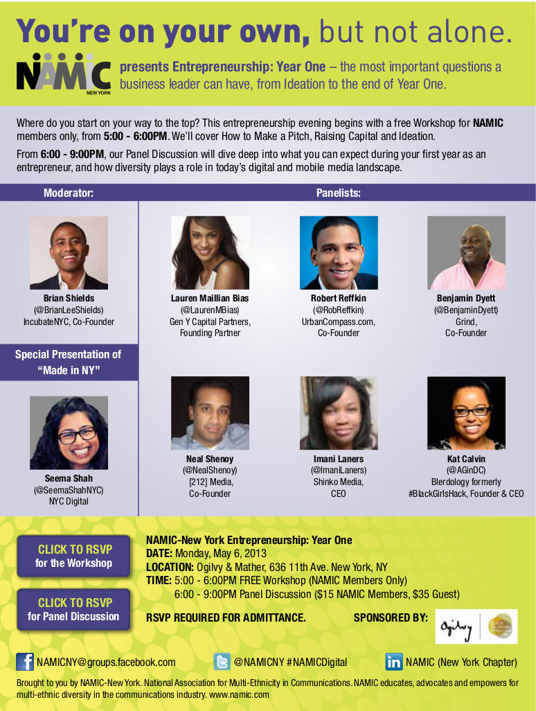 NAMIC to Hold Panel Discussions in NYC on Entrepreneurship