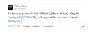 Hibbert answered questions from fans on the @CallofDuty Twitter handle at E3 (Image: Storify)