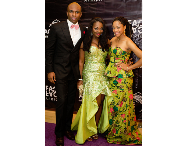 Face2Face Africa chairman, Isaac Boateng, and COO Sandra Appiah join actress Jackie Appiah on the purple carpet.
