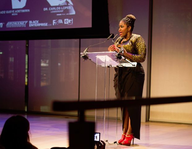 Ghanaian actress and producer Lydia Forson presents an award.