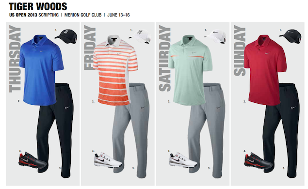 A look at Tiger's outfits for the week of the U.S. Open, courtesy of Nike Golf.