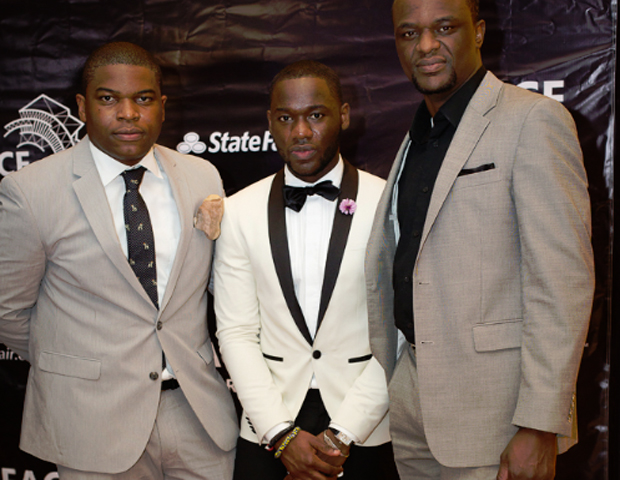 Y.A.C.E. award finalist and executive director at The Royalty Lifestyle Group, Solo Nnanna, left, is joined by Arik Airlines' Kobina Brew-Hammond and guest.