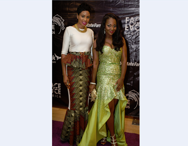 BlackEnterprise.com producer Janell Hazelwood joins actress Jackie Appiah after her purple-carpet interview.