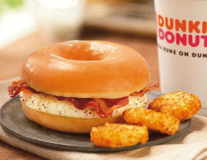 dunkin donuts fried eggs and bacon glazed doughnut sandwich