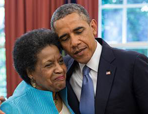 myrlie evers williams and president obama
