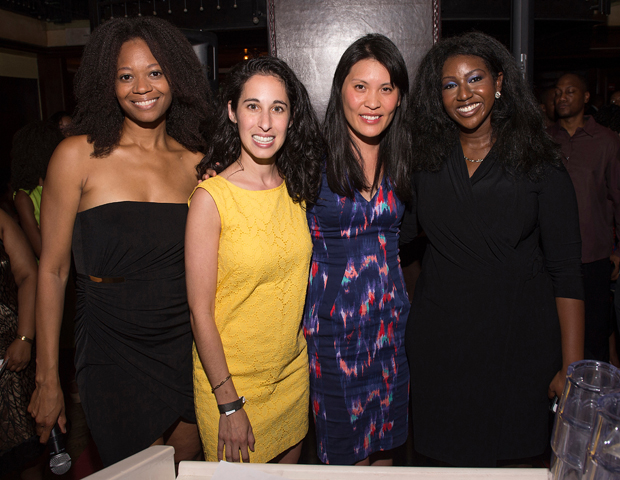 From left, Maisha Walker, president of the Black Ivy Alumni League;  Alycia Zimmerman, of DonorsChoose.org; Janelle Lin of DonorsChoose.org; Ayme Sinclair, gala Chair. DonorsChoose.org was a sponsor for the star-studded event.