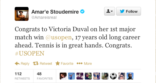 Goggle Power: Amar'e Stoudamire, another athlete who wears goggles, sent Victoria Duval a congratulatory tweet after her win against Samantha Stosur.