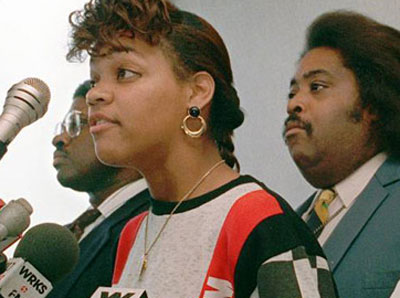 Tawana Brawley pictured with Al Sharpton in a 1988 photo.