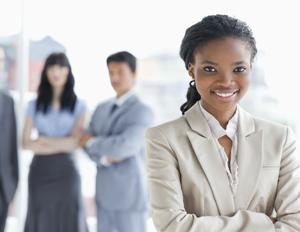 black woman in suit