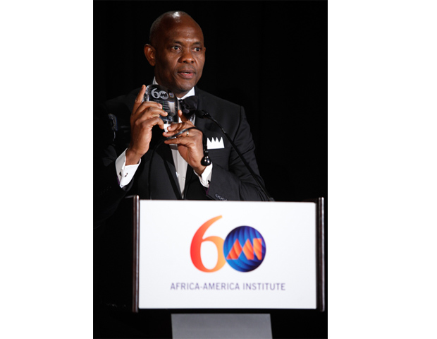 Tony Elumelu of Heirs Holdings accepted the AAI Leadership Award in Business and Philanthropy.