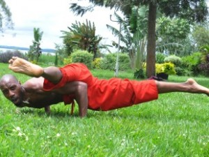 black man in yoga pose