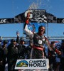 Darrell Wallace Jr. celebrates after his historic win in Danville, Va.