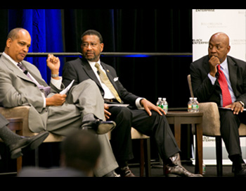 Greg Roberts of NASBE (left), Dr. Ronald Carter of JCSU (middle), and professor Charles Ogaltree, talk about advancing education.