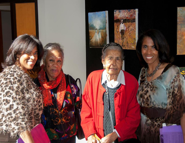 The Mackey sisters are seen with Leatrice Sutton, wife of Civil Rights leader Percy Sutton