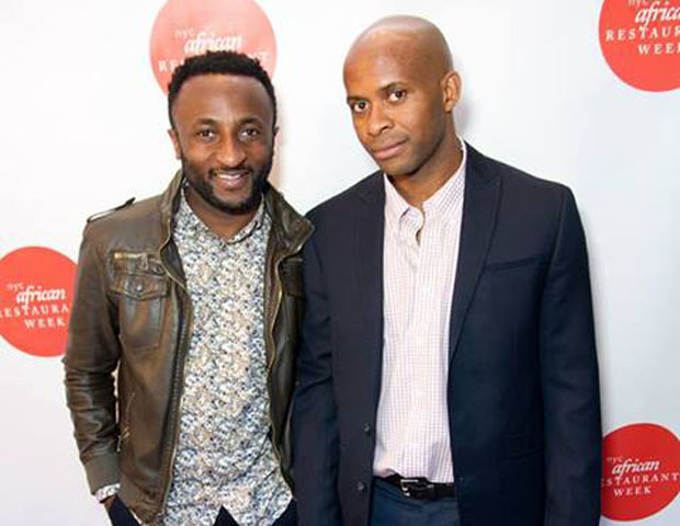 NYAW founder Akin Akinsanya, is seen with a patron, Ernest Danjuma Carter