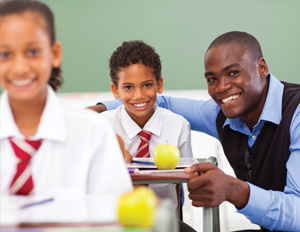 black man with student in class