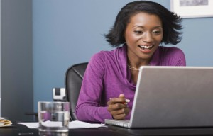black woman on computer