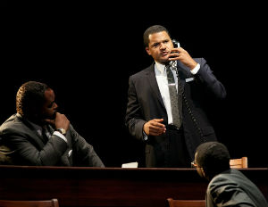 The actor Brandon Dirden depicts Dr. Martin Luther King in the new Broadway play 'All the Way'.